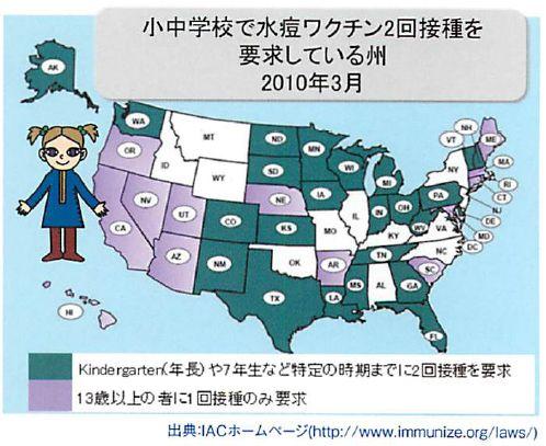 小中学校で水痘ワクチン2回接種を要求している州-2010年03月